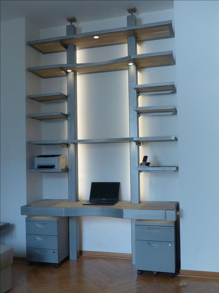 Awesome MONTAN Schreibtischregal konzepiert und gebaut f r eine Stadtwohnung in K ln MONTAN exklusive M bel aus Eisen