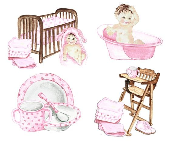 Shower Baby Clip Art Pink Baby Girl Clipart Watercolor Baby Girl