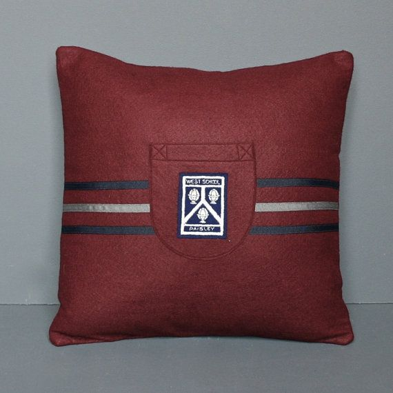 Vintage School Badge Pillow - Hand-made Felt Pillow using an Original 1950's English School Badge