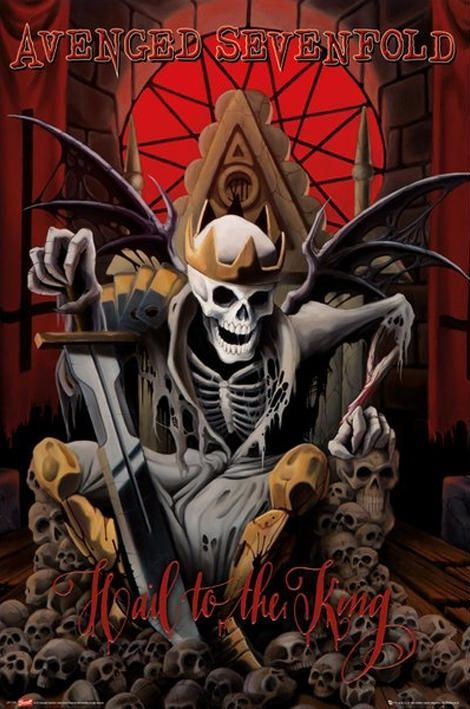☮ American Hippie Rock Metal Music Poster Cover ~ Avenged Sevenfold ~ Hail To The King