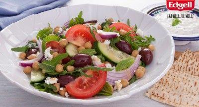 Greek Salad, Tzatziki and Toasted Flatbread