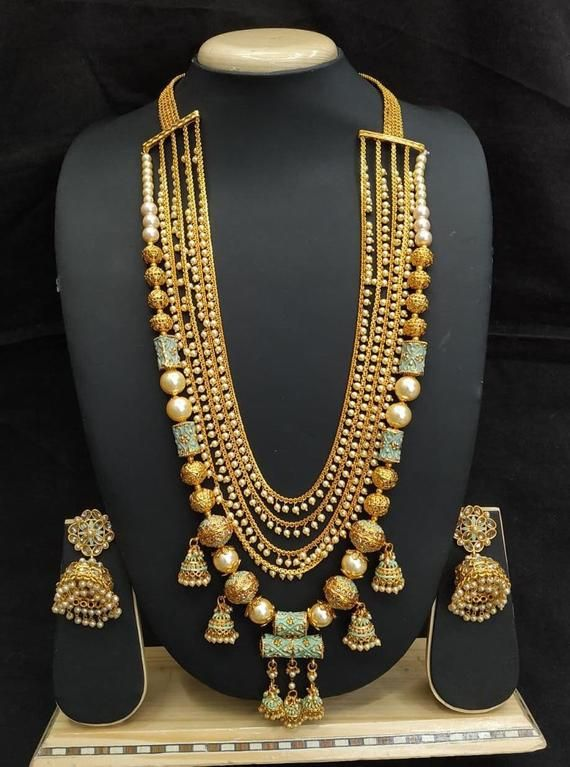 Bahubali Bibosa Sakhi Fashion Long Rani Haar Necklace Set Bridal Fashion Jewelry Antique Jewelry Indian Gold Jewelry Fashion