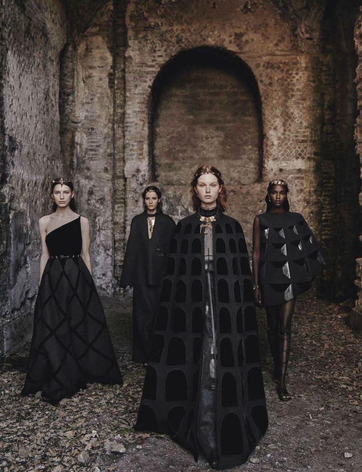 Grace Simmons, Leila Nda, Sofia Tesmenitskaya & Yana Van Ginneken for Vogue Italia September 2015 by Fabrizio Ferri - Valentino Fall 2015 Haute Couture