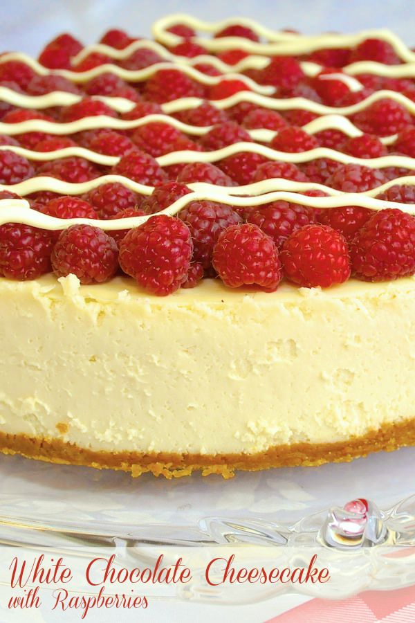 OMG.......white chocolate cheesecake with fresh raspberries.