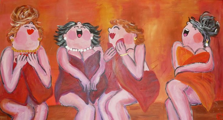 Acryl painting 80x160 cm (dikke dames schilderij) Art by Esther Gemser www.esthergemser.com