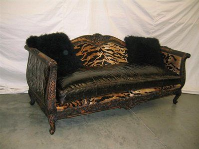 King Of The Jungle Room Tiger And Embossed Leather Sofa W/fuzzy Black  Pillows