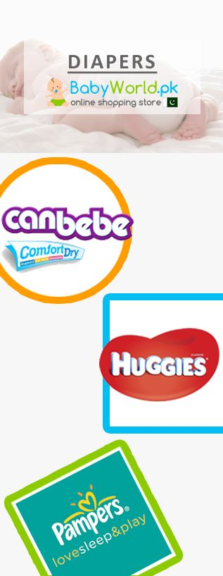 Now you can buy diapers online all across Pakistan on Babyworld at very reasonable prices from popular brands like Farlin, Pampers, Cussons, Canbebe, Huggies etc.  Order Online > http://babyworld.pk/19-diapers