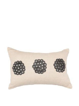 African Circles Pillow, Black/Beige, 14