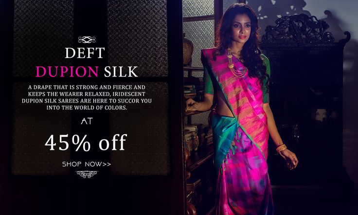 The Enchantress drape! Dupion Silk Sarees Launched at 45% OFF!