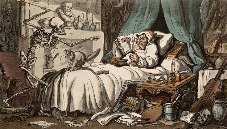 The dance of death: the antiquary's last will & testament by T. Rowlandson, 1816. The Wellcome Library, CC BY
