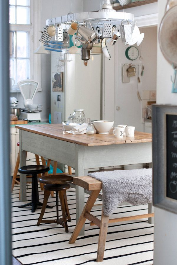 Eclectic kitchen eating/work space.  Would perfectly satisfy my artistic side if I had a formal dining room for my traditional side.