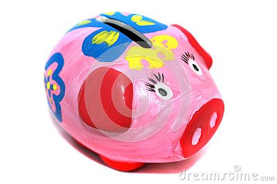 Handmade painted piggy bank (moneybox) closeup photo