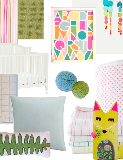 One Print, Three Rooms « Spearmint Baby nursery mood board