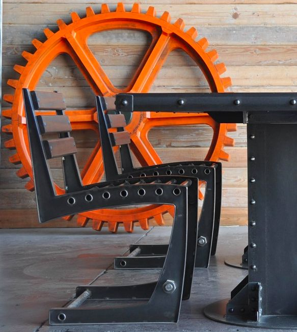 """I Beam Table, Zen Chair, and 54"""" Wooden Gear by Vintage Industrial Furniture in Phoenix!"""