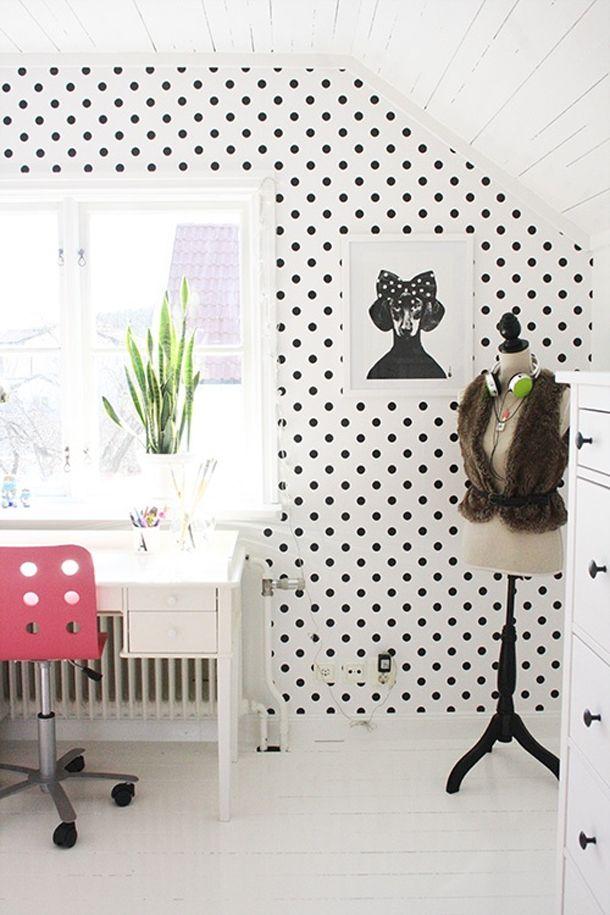 25 beste idee n over behang met stippen op pinterest wanden met stippen badkamer met stippen - Behang tienerkamer ...