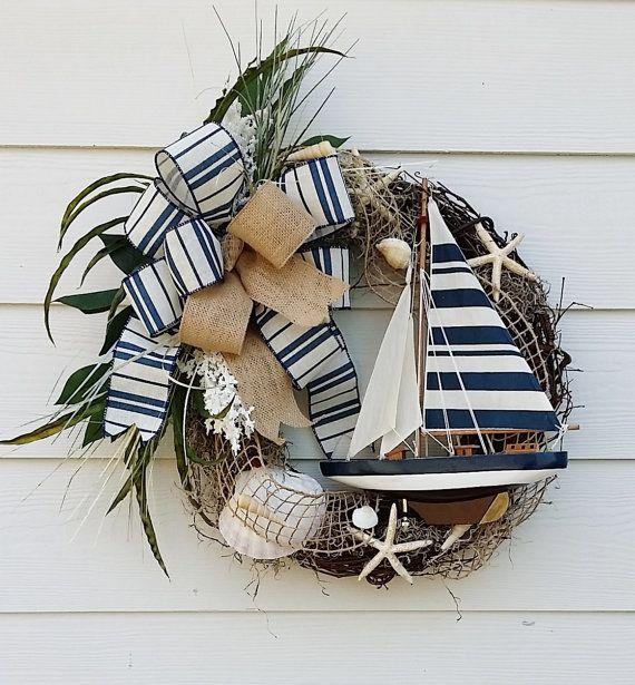 Handmade Sailboat Wreath, Ocean Wreath, Beach House Wreath, Lake House Wreath, Door Wreath, Wall Decor, Nautical Wreath, Sea Shell Wreath