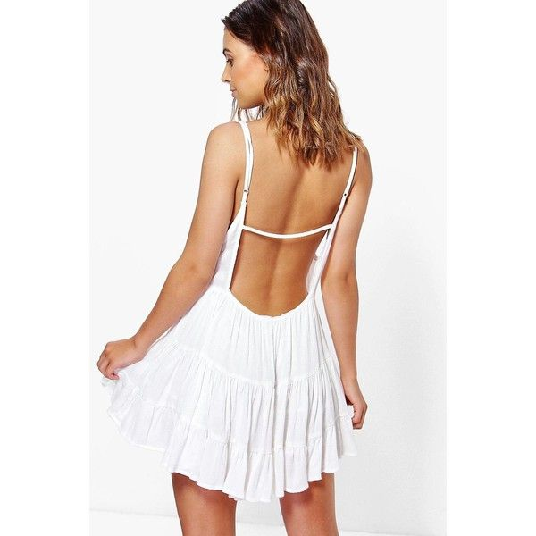 Boohoo Petite Petite Lydia Low Back Tiered Sundress ($26) ❤ liked on Polyvore featuring dresses, white, white bodycon dress, white camisole, white sundress, petite dresses and white dress