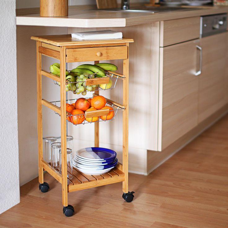 Küchenrollwagen James gibt es in 2 verschiedenen Größen - der praktische Helfer besteht aus nachhaltigem #Bambus.