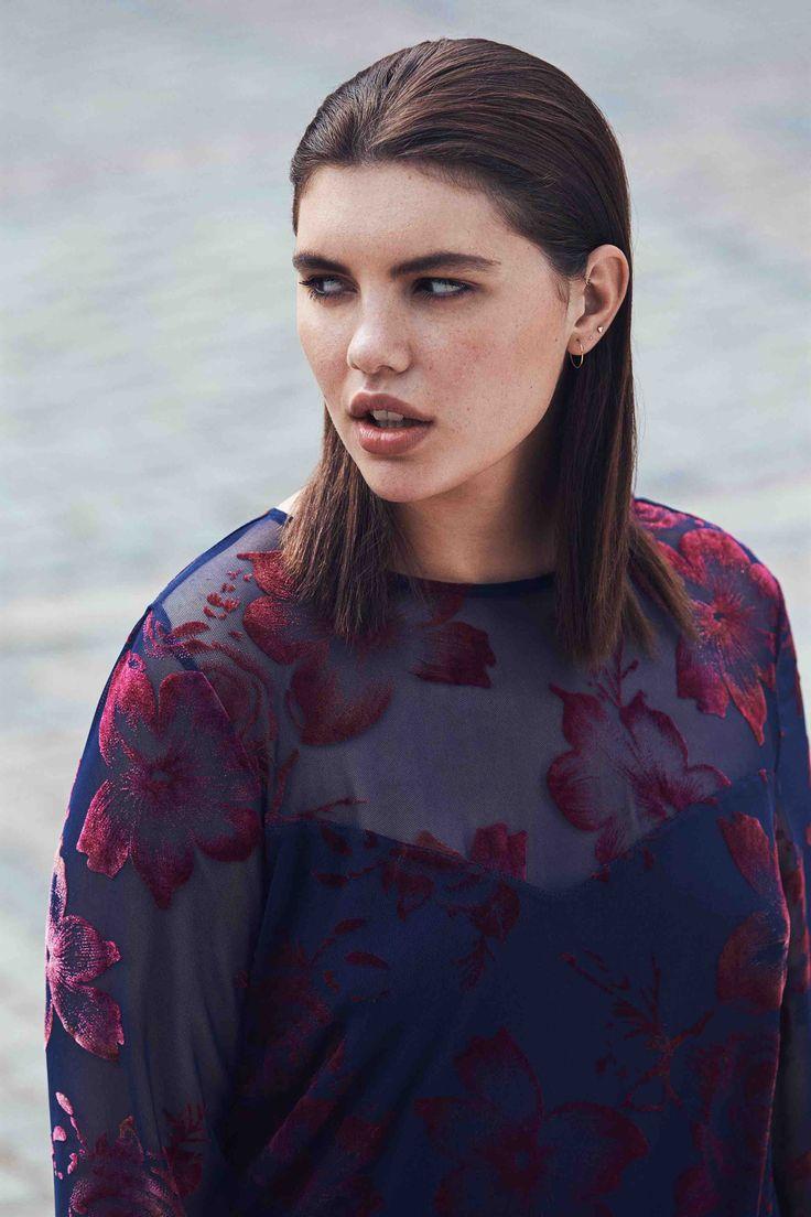 Zizzi, najaar 2017, mode grote maten, jurk transparant