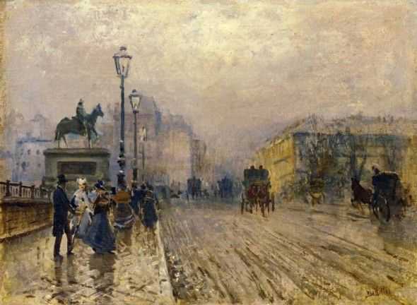 Strada di Parigi con carrozze, 1875, Giuseppe De Nittis