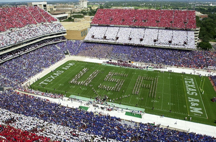 land of the free home of the brave. no better place to celebrate this than at Kyle Field-- Texas Aggie Band halftime performance after September 11, 2001. Nice job on the colors AGS!!!