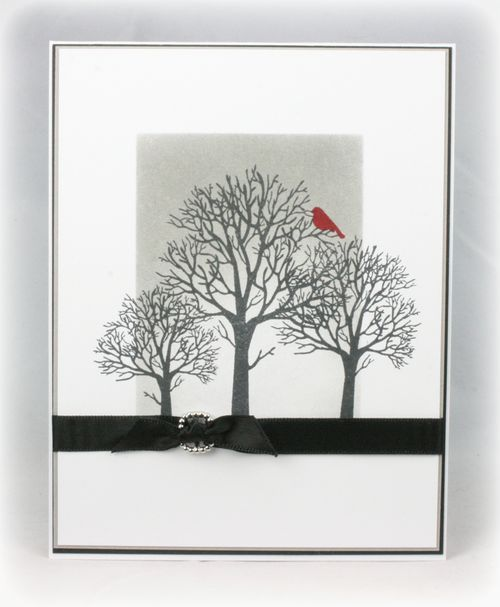 handmade card ... black and white with a pop of red ...