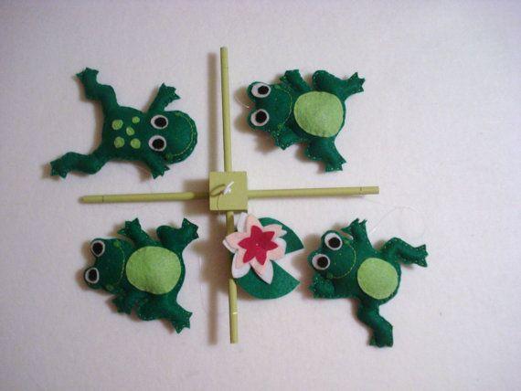 Green Felt Frogs Nursery Mobile by ModernSimpleBaby on Etsy, $54.00