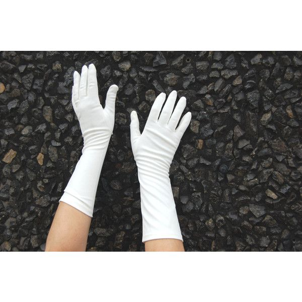 50s XL White Gloves 3 quarter length White Gloves ($24) ❤ liked on Polyvore featuring accessories, gloves, vintage gloves and white gloves