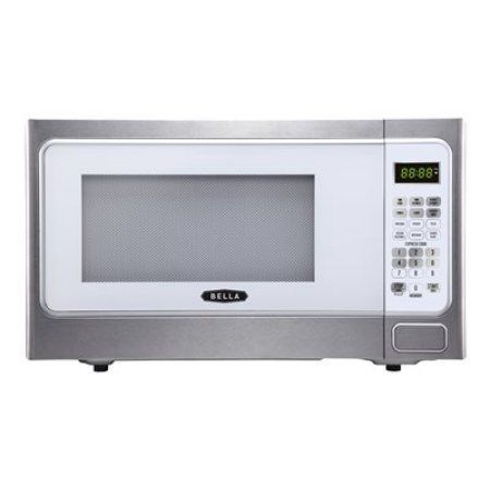 Bella 1000-Watt Microwave Oven, 1.1 cu ft, White with Stainless Steel