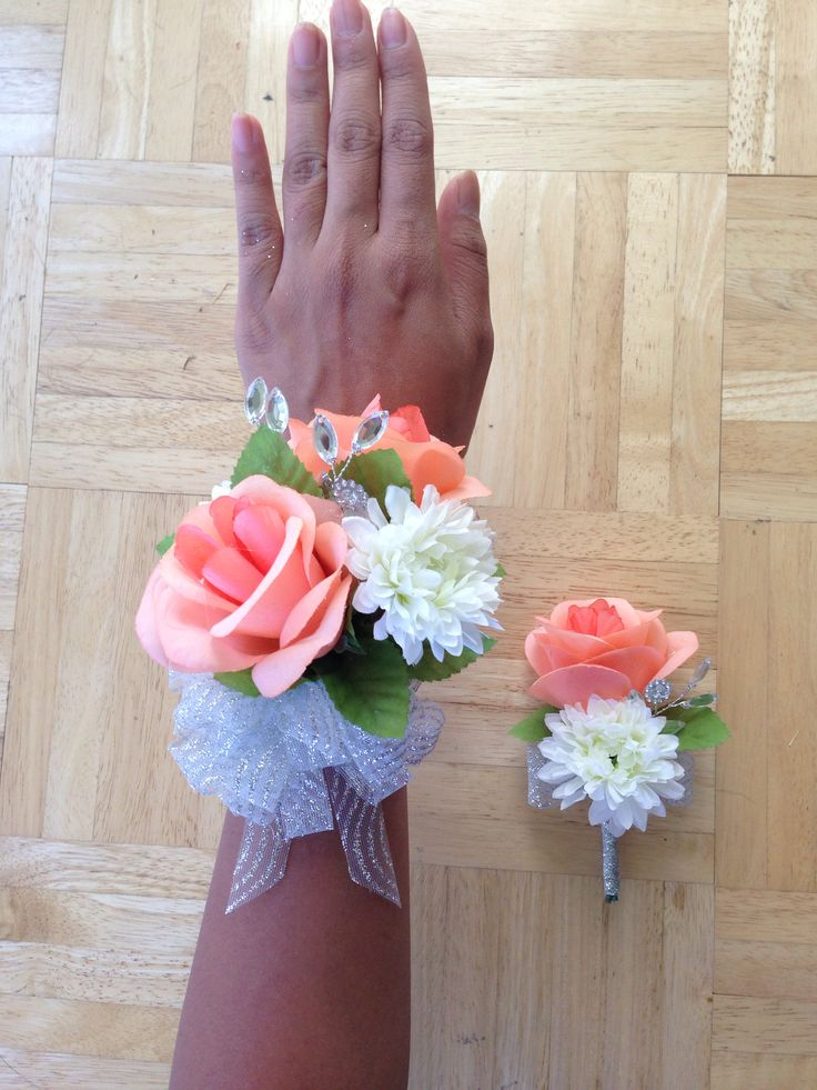 DIY ARTIFICIAL PEACH ROSE CORSAGE AND BOUTONNIERE FOR PROM/FORMAL/DANCE