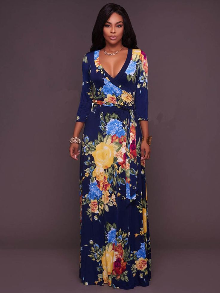 Floral Imprint V Neck Long Sleeve Maxi Dress