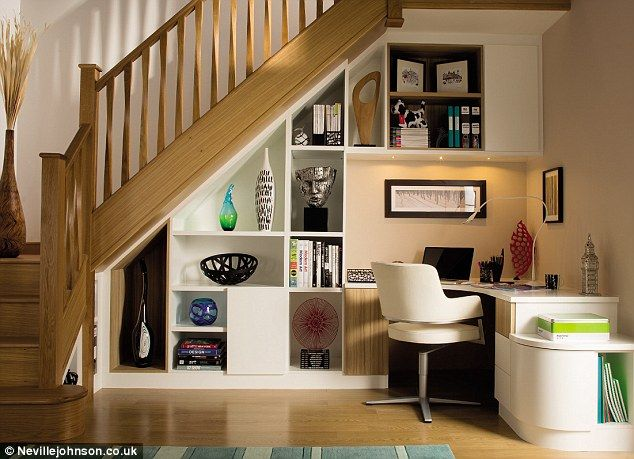 19 best under the stairs ideas images on pinterest space under stairs my house and stairs - Staircases with integrated bookshelves ...