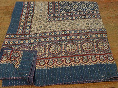 Tribal Asian Textiles Kantha King Size Cotton Patchwork Kantha Quilt with Hand Block Print and Handmade Reversible