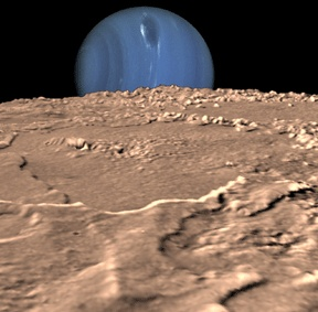 """This 3-D composite view showing Neptune on Triton's horizon was created from images taken by Voyager. Neptune's south pole is to the left. Clearly visible in the planet's southern hemisphere is its """"Great Dark Spot,"""" a large anti-cyclonic storm system. The foreground is a computer-generated view of Triton as it would appear from about 45 kilometers above the surface.  Image courtesy of NAS"""