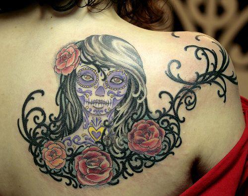 Beautiful <3: Girl Tattoos, Tattooed Girls, Tattoo Ideas, Beautiful Tattoos, Skull Girl Tattoo, Back Tattoo, Day