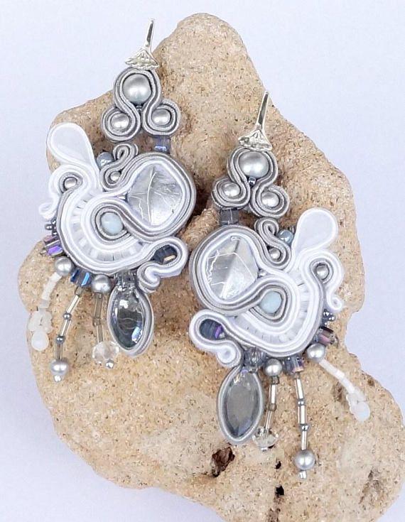 Soutache Ohrringe Ohrschmuck Boho Jewelry Perlen Chandeliers Earrings Perlen Rocailles Handmade Schmuck