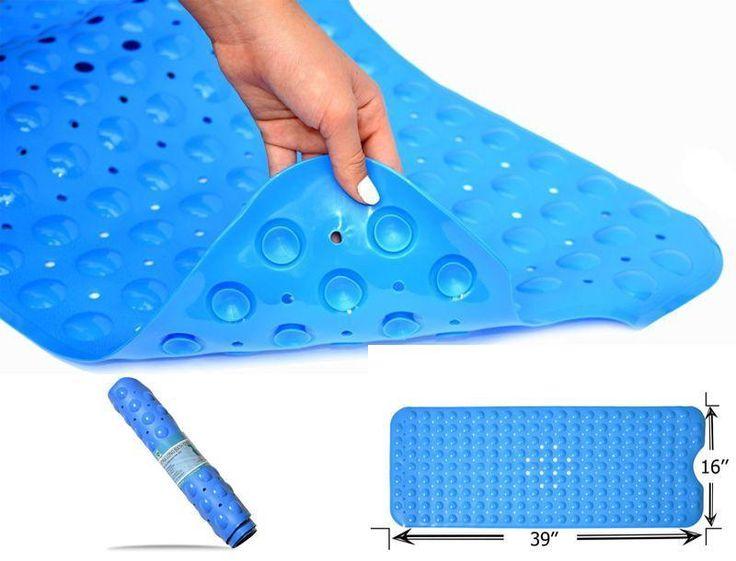 Extra Long Anti Slip Bath & Shower Mat For Tubs And Bathrooms 16'' x 40'' Blue #DREAMSABM