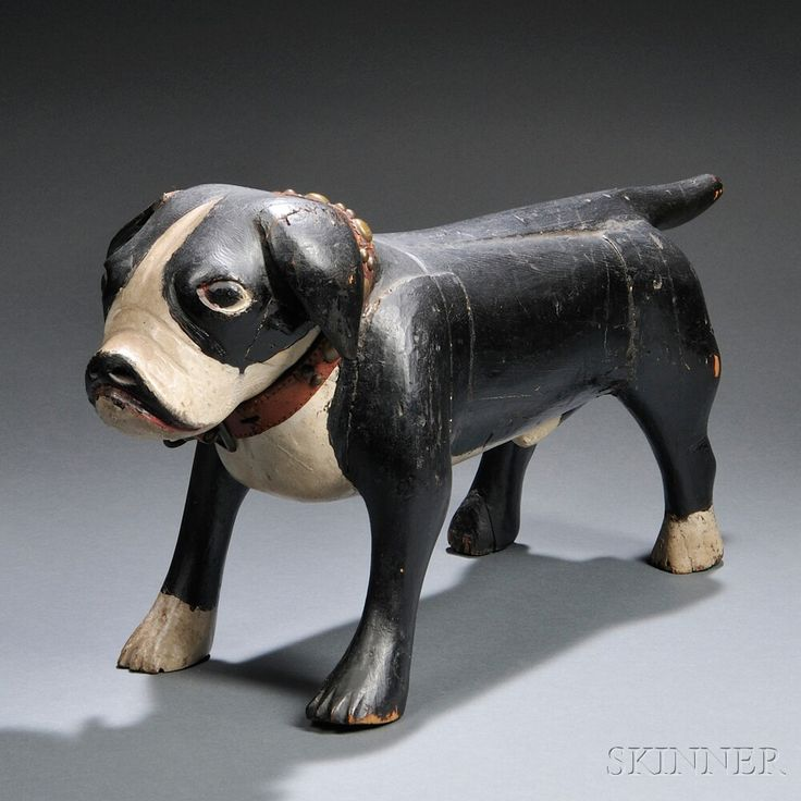 Rare Painted Wood Carving of a Boston Bull Terrier | Sale Number 2680B, Lot Number 33 | Skinner Auctioneers