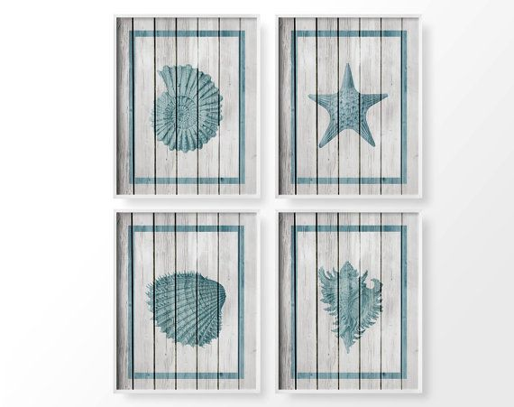 Seashell Art, Nautical Sea Life Set of 4, Rustic Beach Decor, Coastal Decor, Ocean Art, Bathroom Decor, Nautical Decor, Beach House Decor