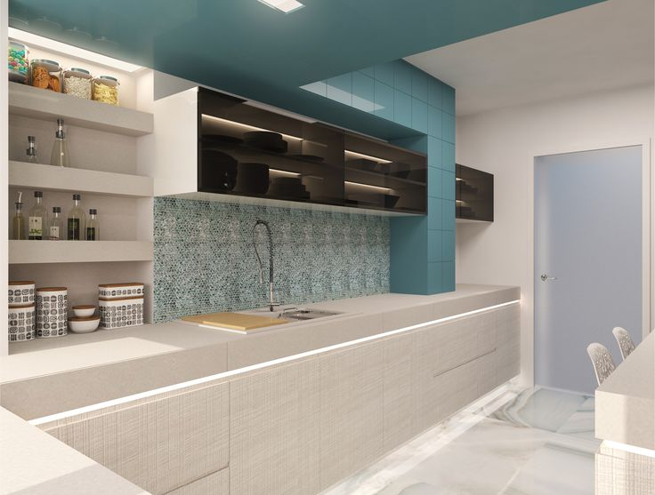 #kitchen #white #spotlights #ambientlights # blue #oven #sink #kitchenshelves #kitchenfurniture #lamps #minimalist #bigwindows #chairs #kitchentable