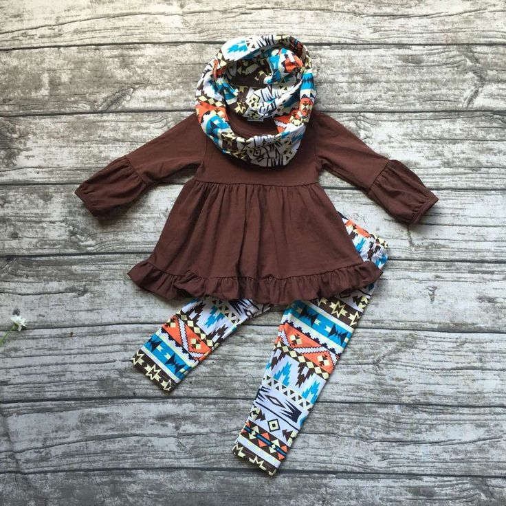 3 pieces aztec pant with scarf set