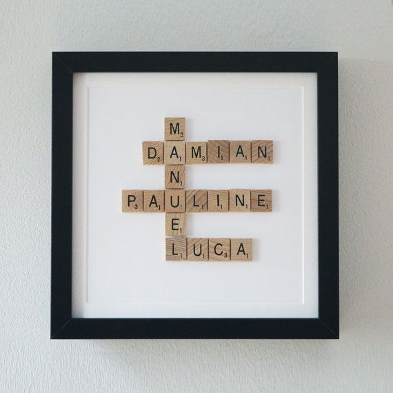 Framed Scrabble Family Tree 5th Year Anniversary Gift Wooden Anniv In 2020 5th Wedding Anniversary Gift 5 Year Anniversary Gift 5th Wedding Anniversary Gifts For Him