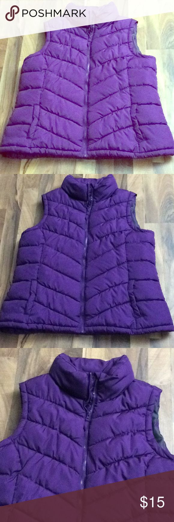 Plus Size 2X 18W/20W Dark Purple Puffer Vest This top is up for sale! Great condition! Cute!  ❤ Purple ❤ Puffer Vest ❤ 2 pockets in front  ❤ Size Measured in Pictures 🔍📏   ✅ Bundle up 3 items and save 💲✅  ❤️I love reasonable offers. ❤️ 🎉 Pair with our jewelry, acc. or purses 🎉 🆕🆕 New items every week! 🆕🆕 Faded Glory Jackets & Coats Vests