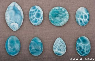 Larimar is meticulously graded using the following scale: AAA+: Superb colors and/or natural patterns with no discolorations or inclusions....