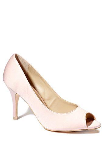 Ballet Pink Occasion Satin Peep Toe Court Shoe