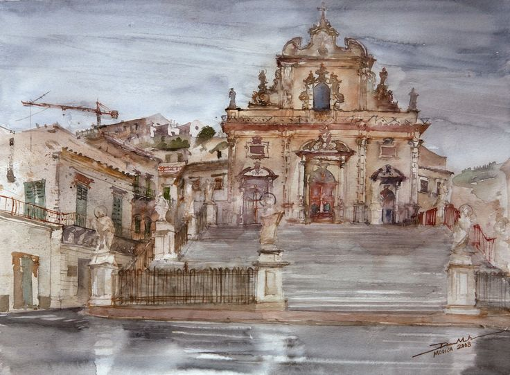 Rainy Modica, 36x48cm, 2008 www.minhdam.com #architecture #watercolor #watercolour #art #artist #painting #modica #sicily #italy