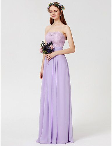 d1f60b213026 Ίσια Γραμμή Στράπλες Μακρύ Σιφόν Μπούστο δαντέλα Φόρεμα Παρανύμφων με  Δαντέλα Ζώνη   Κορδέλα Πιασίματα με LAN TING BRIDE®