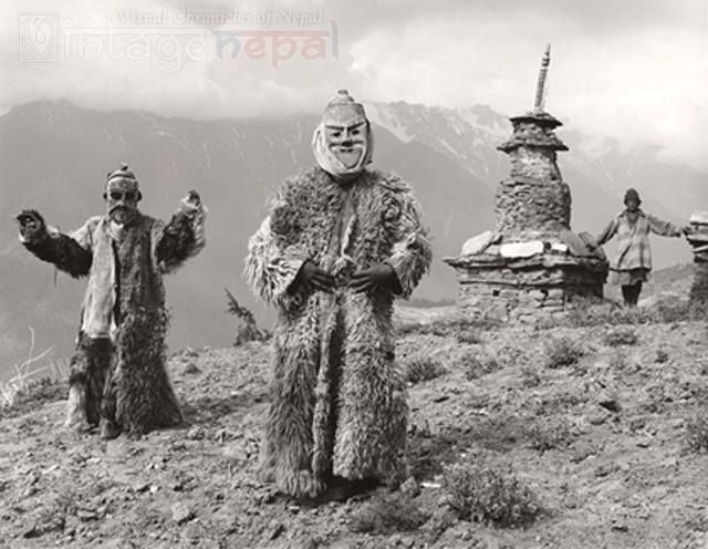 Nepali dancers  Vintage Nepal ~ Rare Old Pictures, Videos and Arts of Nepal Liked · about an hour ago  Ritual mask dancers in fur coat  Date Photographed: 1985   Humla, western Nepal   Photographer: Kevin Bubriski  
