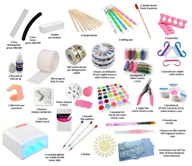 KIT RICOSTRUZIONE UNGHIE COMPLETO GEL UV LAMPADA UV 36 WATT FORNETTO NAIL ART in Bellezza e salute, Manicure e pedicure, Decorazioni per unghie   eBay