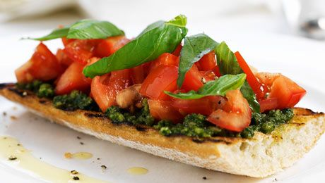 Pesto Infused Tomato Bruschetta